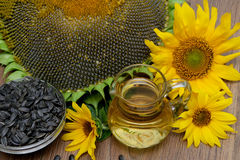 Oil, seeds and sunflowers on a wooden background. Royalty Free Stock Photos