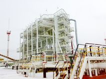 Oil separation unit. The primary separation stage and the final stage of separation in one physical block. Oil separation unit. The primary separation stage and Stock Photo