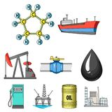 Oil set collection icons in cartoon style. Oil rig, pump and other equipment for oil recovery, processing and storage.Oil set collection icons in cartoon style Royalty Free Stock Photo