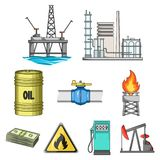 Oil set collection icons in cartoon style. Oil rig, pump and other equipment for oil recovery, processing and storage.Oil set collection icons in cartoon style Stock Photography