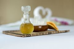 Oil and set spa objects on wood textile background. Health relax Stock Photo