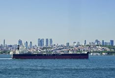 Oil ship in bosphorus stock photo