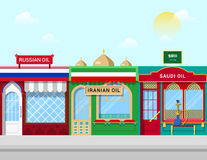 Oil shops concept vector illustration Russian Iran Stock Photography
