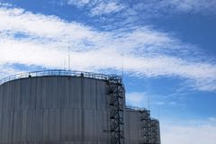 Oil silo. Tanks for storage of oil products Royalty Free Stock Images