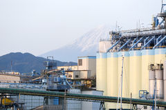 Oil silo. Vegetable oil silo in Japan with Mt. Fuji in background Royalty Free Stock Photos