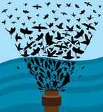 Oil Spill. Birds and Marine Life that are affected by the Gulf Coast Oil Spill vector illustration