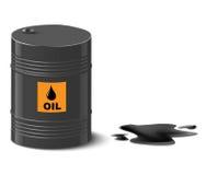 Oil spill. Oil spill and oil barrel  illustration Stock Photo