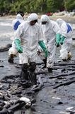 Oil spill on the Ao Prao beach, Koh Samet Island. Royalty Free Stock Photography