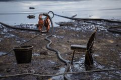 Oil spill on the beach Stock Image