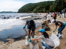 Oil spill cleaning, Rayong, Thailand 3 royalty free stock image