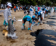 Oil spill cleaning, Rayong, Thailand 1 Royalty Free Stock Image