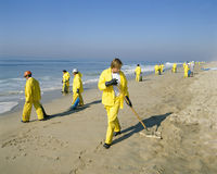 Oil spill cleanup royalty free stock images