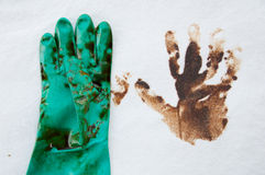 Oil spill cleanup on working area. danger for the nature Royalty Free Stock Images