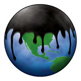 Oil Spill Covering World Globe royalty free illustration