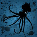 Oil spill octopus at sea. An ocean background with octopus made from ocean spill stock illustration