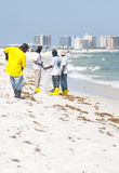 Oil spill workers cleaning beach Stock Image