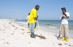 Oil spill workers cleaning beach Royalty Free Stock Images