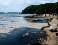 Oil spilled beach, Rayong, Thailand 1 Royalty Free Stock Photography