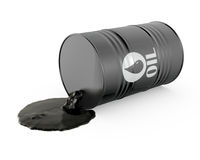 Oil is spilling from the barrel. On white background vector illustration