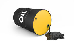 Oil is spilling from the barrel. On white with clipping path royalty free illustration