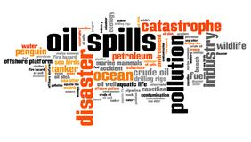 Oil spills. Environmental issues and concepts word cloud illustration. Word collage concept Stock Photos