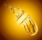 Oil splash on gold bokeh background. 3d rendering Royalty Free Stock Photos