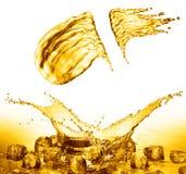 Oil splash on gold bokeh background. 3d rendering Stock Photos