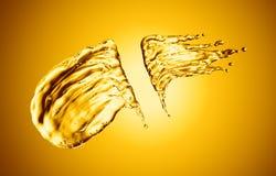 Oil splash on gold bokeh background. 3d rendering Royalty Free Stock Photography