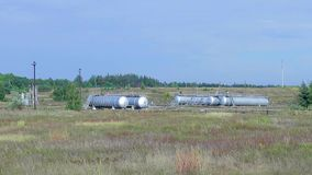 Oil storage in the country. stock video footage