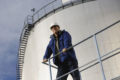 Oil storage and engineer royalty free stock images