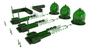 Oil storage industrial park concept. 3D render illustration of an oil storage industrial park. The composition is  on a white background with no shadows Royalty Free Stock Photo