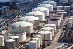 A oil storage. Oil storage in the modern port Stock Photos