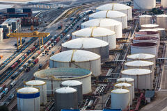 Oil storage in modern port Royalty Free Stock Photography