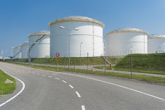 Oil storage in the port of amsterdam Stock Photo