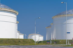 Oil storage in the port of amsterdam Royalty Free Stock Images