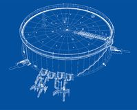 Oil storage tank. 3d illustration. Wire-frame style Stock Photography