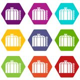 Oil storage tank icons set 9 vector. Oil storage tank icons 9 set coloful isolated on white for web Stock Photos