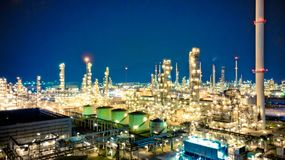 Oil storage tank with oil refinery background, Oil refinery plan Royalty Free Stock Photo