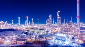 Oil storage tank with oil refinery background, Oil refinery plan Stock Photography