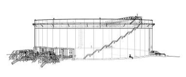 Oil storage tank. 3d illustration. Wire-frame style Stock Photo