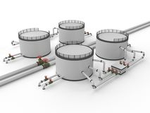 Oil storage tank and pipeline. On a white background Stock Photos