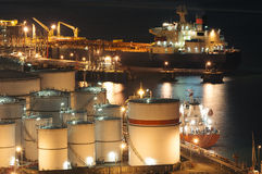 Oil Storage tanks. And tanker Royalty Free Stock Photography