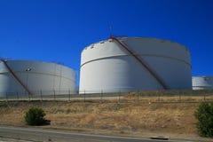Oil Storage Tanks. Close up of the oil storage tanks Royalty Free Stock Photo