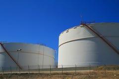 Oil Storage Tanks. Close up of the oil storage tanks Stock Photos