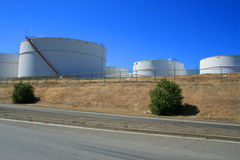 Oil Storage Tanks. Close up of the oil storage tanks Stock Images