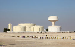 Oil storage tanks. In Bahrain, Middle East Royalty Free Stock Photos