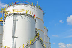 Oil storage tanks with blue sky Stock Image