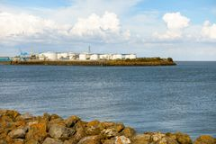 Oil Storage Tanks in Cardiff Bay stock photography