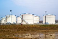 Oil storage tanks. Fuel storage tanks at oil rafinery factory Stock Photo