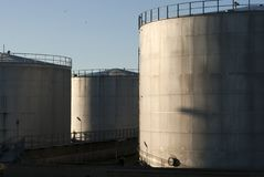 Oil storage tanks sky blue Stock Image